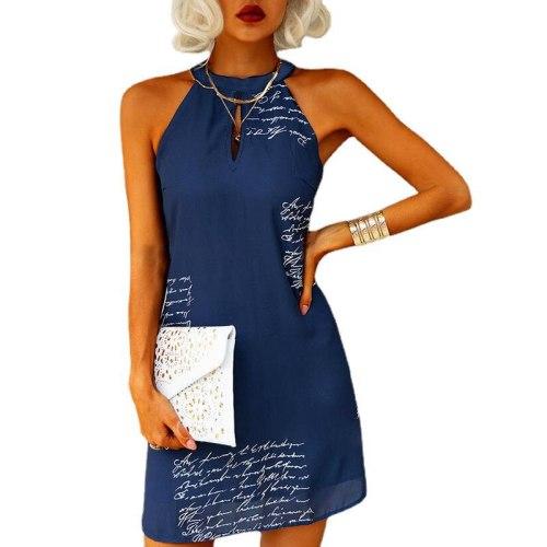 2021 New  Women's Letter Print Sleeveless Neck Sexy Casual Dress Blue Mini Dress