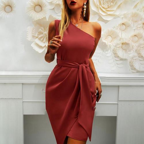 Women Dress Bodycon Sexy Solid Color Slim Summer Dresses 2021 Slash Shoulder Sleeveless Belt Dress for Wedding/Party /Club
