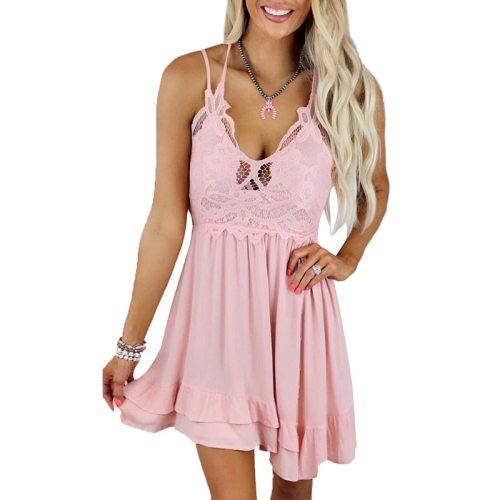 Sexy Backless Lace Spaghetti Dress Women Fashion Party Club Clothes Summer Beach Sundress Elegant Ladies Mini Dresses Robe Femme