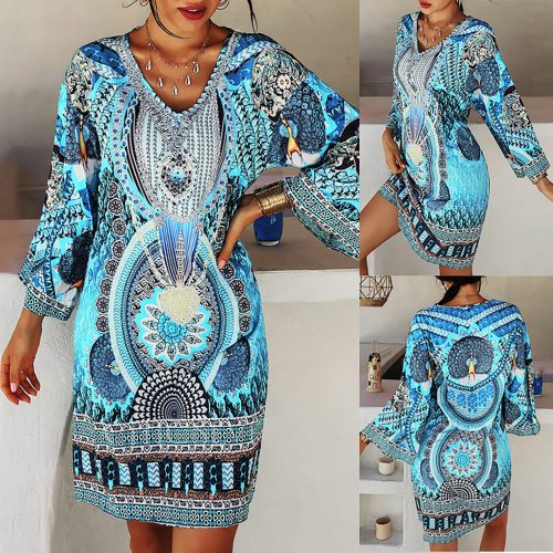 Summer Clothes For Women Women's Fashion Dress Long Sleeve V-neck Printed Casual Mini Dress