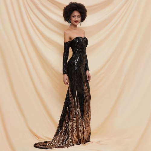 Woman Dress Women's Strapless Sexy Party Black Dress Host Banquet Sequined Trumpet / Mermaid Floor-Length Party Dress