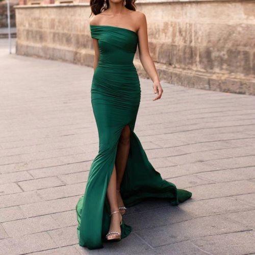 One-Shoulder Sexy Slit Satin Prom Party Evening Dresses Vestidos