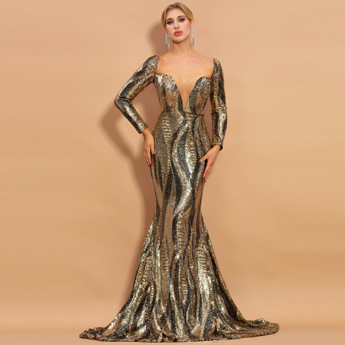 Neck Long Sleeve Backless Color Stripe Sequined Mermaid Party Dress Vintage Long Bodycon Dresses Women Party  Dress
