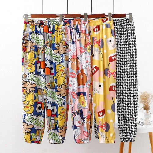 Summer Women's Combed Cotton Seam Beach Pants High-waisted Loose Casual Pants Printed Straight Bloomers