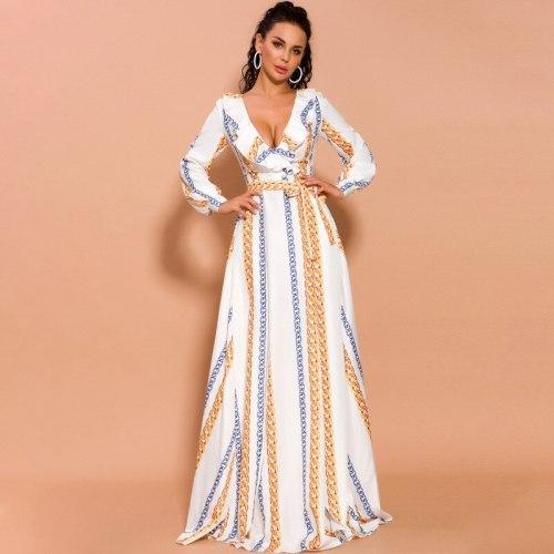 Fashion White Chiffon Dress New Bohemia Print Dress Summer Long Woman Dress Casual Dresses for Women