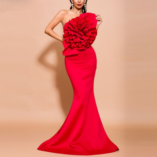 Elegant Women Sexy Long Party Dress Flower Designer Mermaid Vestiods Formal Autumn Female Bodycon Maxi Dresses African Clothes