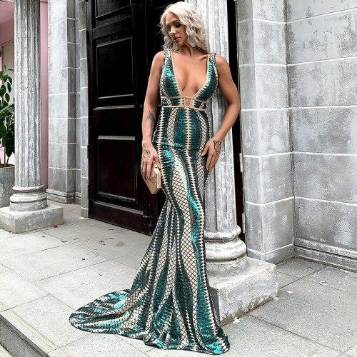 Summer Women Sequins Floor Length Tailing Striped Trumpet Dresses Fashion Deep V-Neck Long Maxi Dress Evening Dinner Party