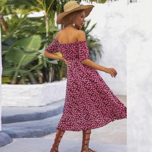 Women's Summer Beach Dress Off Shoulder Vintage Floral Boho Dress Robe Femme Ladies Fashion Sexy Split Lace Up Party Dress 2021