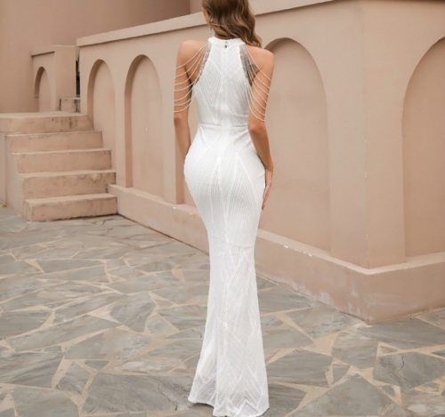 Sexy Halter Sleeveless Tassel Sequined Mermaid Party Dress Vintage Long Bodycon Dresses Women Party  Dress