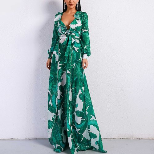 Long Sleeve Dress Tropical Beach Vintage Maxi Dresses Boho Casual V Neck Belt Lace Up Tunic Draped Plus Size Dress