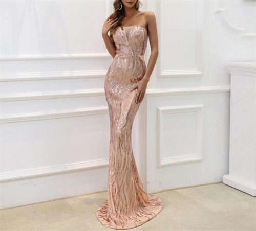 Off Shoulder Sleeveless Sexy Sequined Floor Length Party Dress Vintage Party Dress Bodycon Dresses Women Party Dress