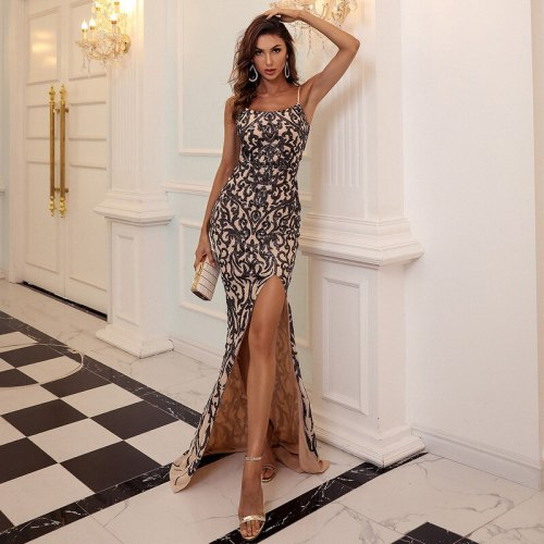 Sexy Spaghetti Strap Evening Party Dress Women Elegant Sleeveless Backless Sequin Dress High Split Night Club Long Maxi Dresses