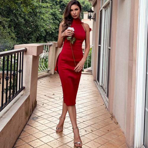 2021 Summer Women High Neck Midi Dress Elegant Sexy Female Red Backless Bodycon Dress Prom Birthday Party Dress White