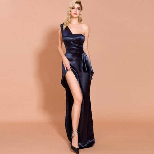 One-Shoulder Sleeveless Backless Party Dress Vintage Long Bodycon Dresses Women Party  Dress