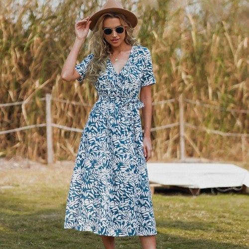 Beach Boho Dress Women V Neck Floral Print Vintage Midi Dress Robe Femme 2021 Summer Boho Dress Ladies Lace Up Maxi Long Dresses
