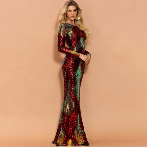 Woman Dress Spring/Autumn New Fashion Stitching Floor-Length Long Sequin Dress Lady Long Sleeve O-Neck Party Dresses