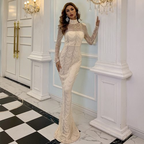 2021 Autumn Winter High Neck Wave Sequins See Though Women Maxi Dresses Elegant Long Sleeve Female Party Dresses