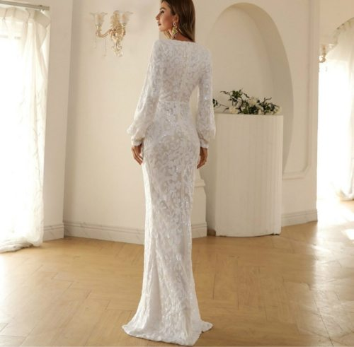 Sexy V-Neck Long Sleeve Lace Fabric Slit Party Dress Vintage Long Bodycon Dresses Women Party  Dress