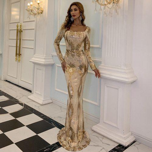 Women Elegant Sequin Long Sleeve Embroidered Print Gold Dresses Slim Fishtail Maxi Dress Party  Evening Bride Dresses Vestidos