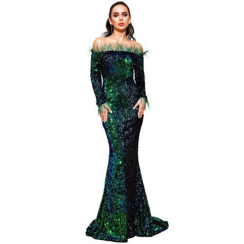 Elegant Shiny Off-Shoulder Ladies Floor-Length Dress Feather Tube Top Long Sleeve Sequin Partywear Sexy Women's Bodycon Dresses