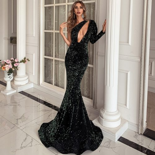 Sexy One Shoulder Puff Sleeve Sequin Bodycon Dress Hollow Out Floor Length Maxi Long Dress Casual Ladies Evening Party Dresses