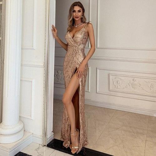 Women Sexy V Neck Sequin Spaghetti Strap Dress Sleeveless Backless High Split Long Maxi Dresses 2021 Summer Evening Party Dress