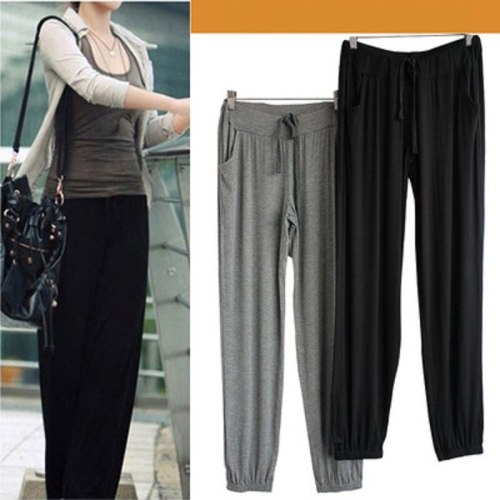 New Pants Women's Summer Clothes Solid Color Comfortable Harem Pants Modal Loose Casual Sports Large Size Women's Pants