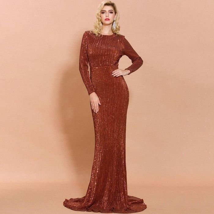 Sexy Spring Autumn Waist Fishtail Temperament Hostess Elegant And Sparkling Sequin Maxi Dress long sleeve bodycon dress vestidos