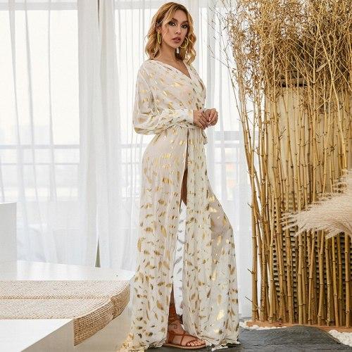 Charming Women Sexy Chiffon Dresses 2021 Summer Sexy Deep V-neck High Waist Sashes Lace-up Split Floor-length Party Dress