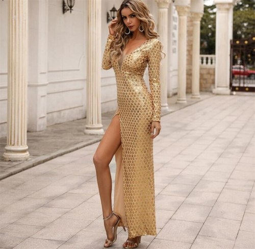 Sexy Gold V-Neck Slit Ankle Length Full Sleeve Party Dress Vintage Party Dress Bodycon Dresses Women Party Dress