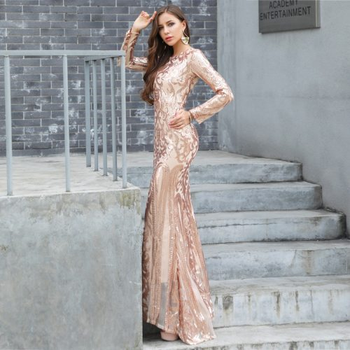 2021 Autumn Winter Long Dress Women Sequin Sexy Round Neck Long Sleeve Retro Party Dress With Nice  Quality Material Plus 2XL