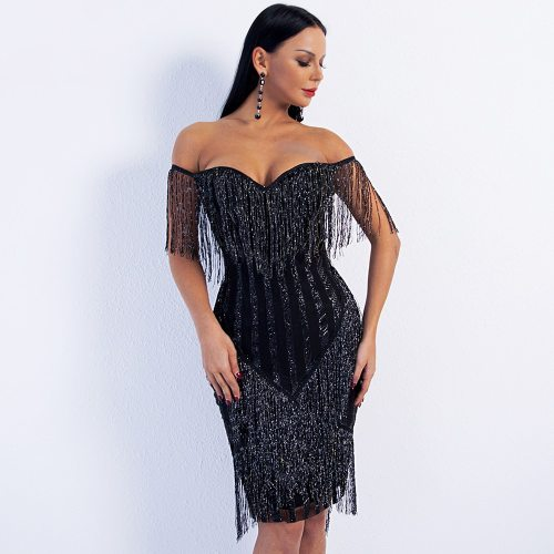 Sexy Off Shoulder Striped Glitter Tassel Dress Summer Slash Neck Sleeveless Party Dresses Women Evening Elegant Fringe Dress
