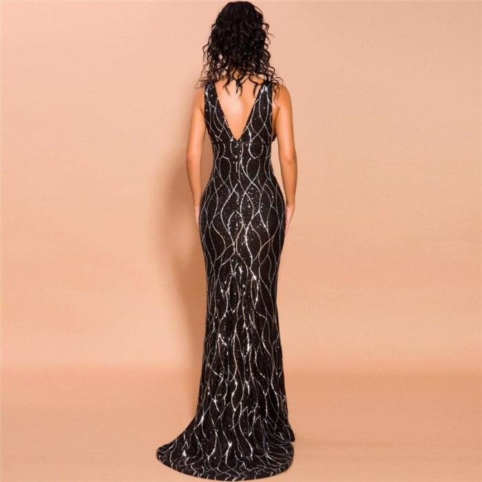 Sexy Deep V Neck Zipper Back Mermaid Women Dress 2021 Charming Spaghetti Strap Sequined Bodycon Dress Real Photo