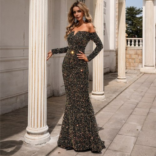 Woman Dress Spring/Summer New Sexy One-word Shoulder Sequin Long-sleeved Drag-tailed Meeting Host Banquet Party Dress