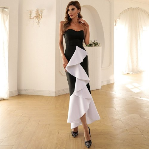 Women Sexy Strapless Evening Party  Ruffles Maxi Dress Female Wrapped Chest Patchwork Dress Backless Long Elegant Dresses
