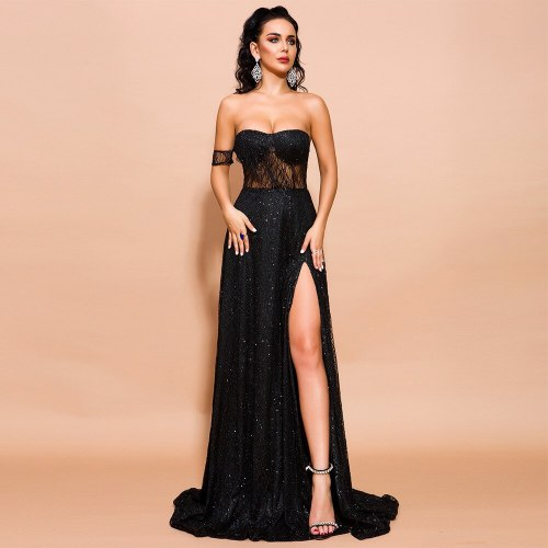 Women's Maxi Dresses Tube Top Mesh Sequinned Party Evening Long Dress Sexy Backless Off Shoulder High Split Floor-Length