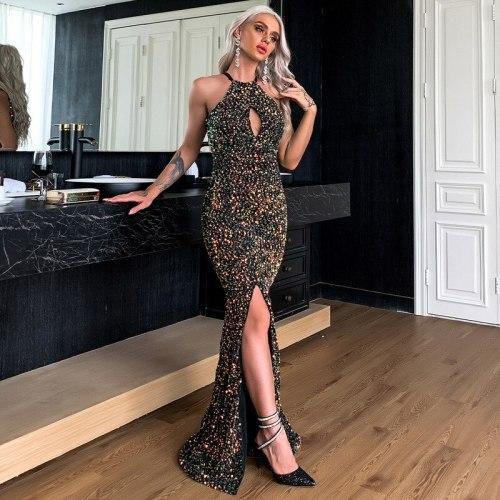 Women Dress Fashion Banquet Sequin Dress Sexy Hollow Out Hanging Neck Split Trumpet / Mermaid Long Party Dress