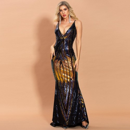 2021 Sexy Halter Dress women's Backless colourful geometric sequins Bodycon Dresses Vestidos sexy club costume party maxi dress