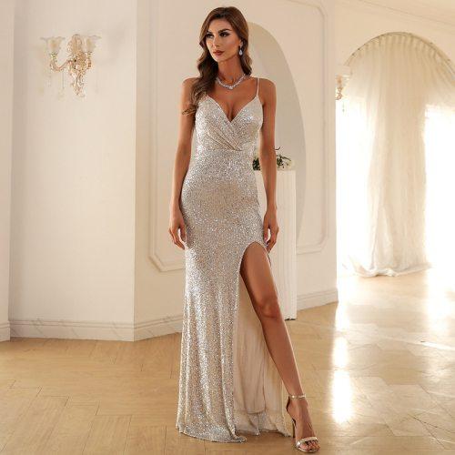 Sexy Deep V Neck Maxi Dress Spaghetti Strap Party Dresses Women Evening Elegant High Split Backless Sleeveless Sequin Dress