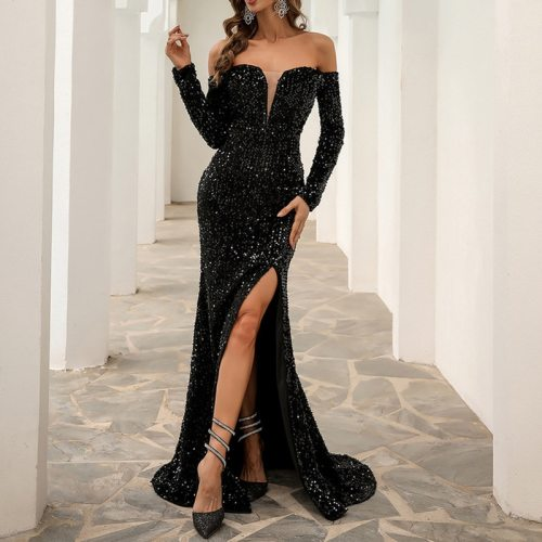 New 2021 Elegant Sequined Mermaid Evening Party Dresses Women Sexy Boat Neck Slit Maxi Gown Fashion Vestido