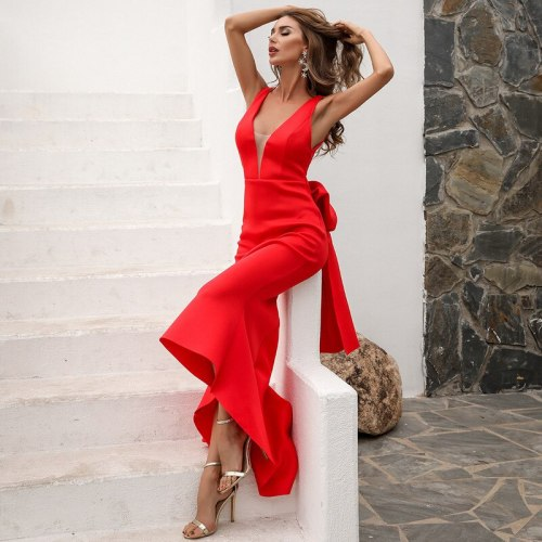 Sexy Deep V Neck Ruffles Evening Party Dress New Year Celebrity Long Maxi Dress Sleeveless Backless Bow Tie Women Bodycon Dress