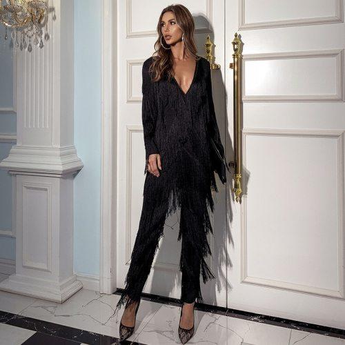 New 2021 fashion polyester women jumpsuits black deep v-neck casual summer tassel jumpsuit evening club women's loose pants