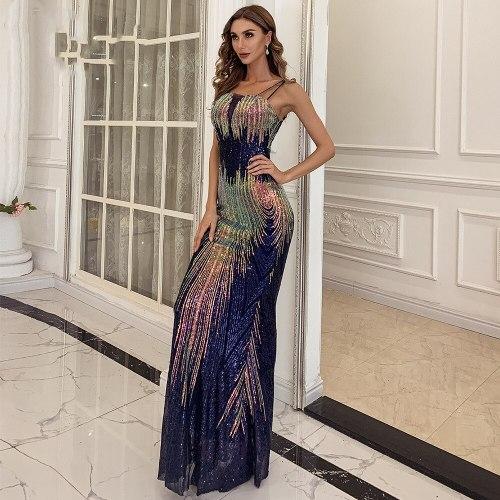 Sexy Off the Shoulder Sequin Party Dress Female Multi Bodycon Floor Length Maxi Dress Women Summer Dress Vestidos