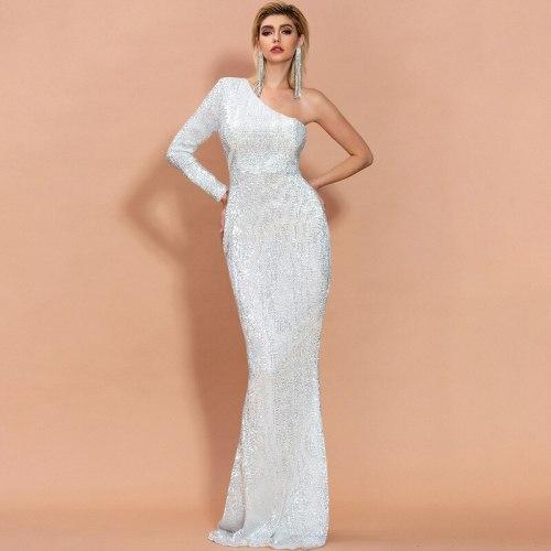 One Shoulder long sequin dress Women elegant maxi dresses Sexy irregularity neck club party dress Maxi Solid sequined vestidos