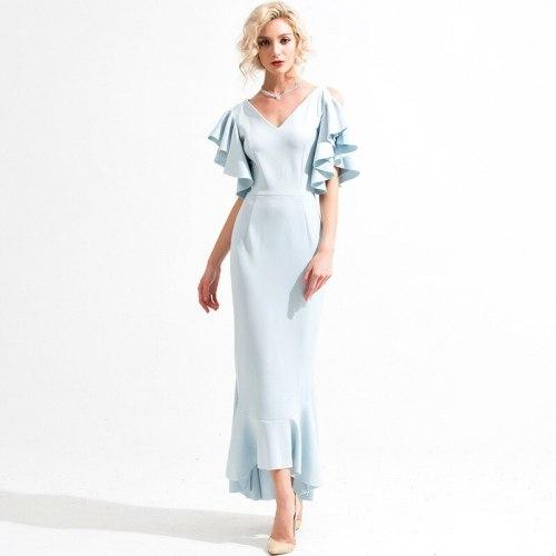 Women Elegant Ruffles sleeve maxi Dress Butterfly Short Sleeve Backless Dress Ladies V Neck back cross fishtail dresses vestidos