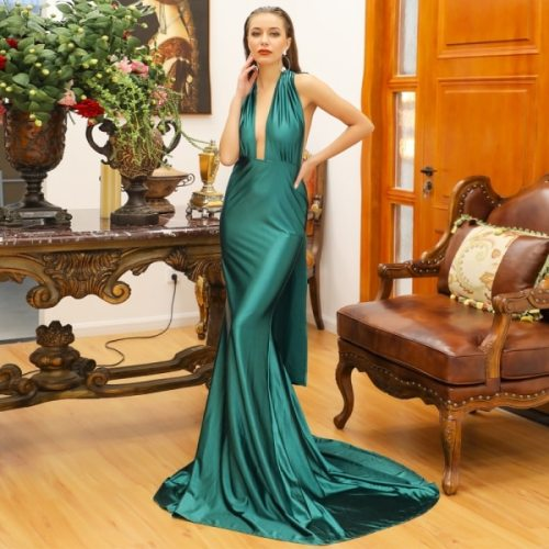 Summer Green And Red Two Colour Deep V Neck Halter Backless Satin Long Dress Fashion Cocktail Party Beautiful Costume