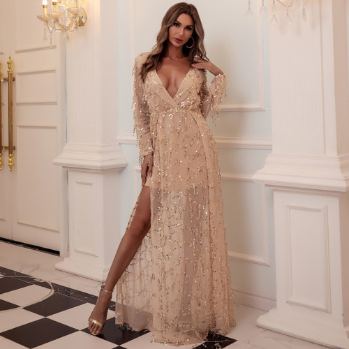 Sexy V-Neck Sequined Floor Length Slit Party Dress Vintage Party Dress Bodycon Dresses Women Party Dress