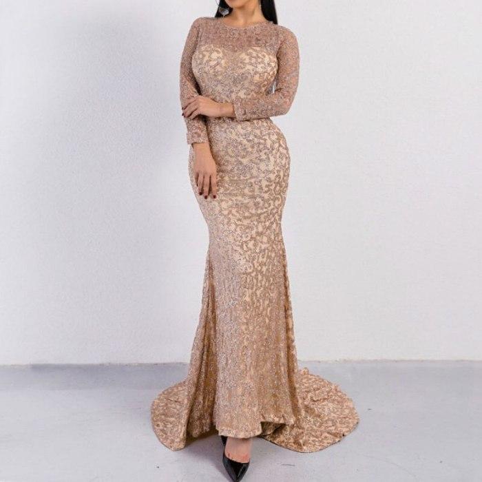New Vintage Slim Wedding Evening Club Dresses Gold Silver Heavy Sequins Women Long Dress Vestidos Trumpet Autumn Maxi Dresses
