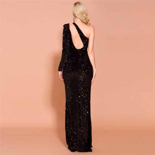 Sequins Dinner Party Evening Dress Long Dress For Lady One-shoulder Sexy High Split Formal Gowns Black Flounces Robe