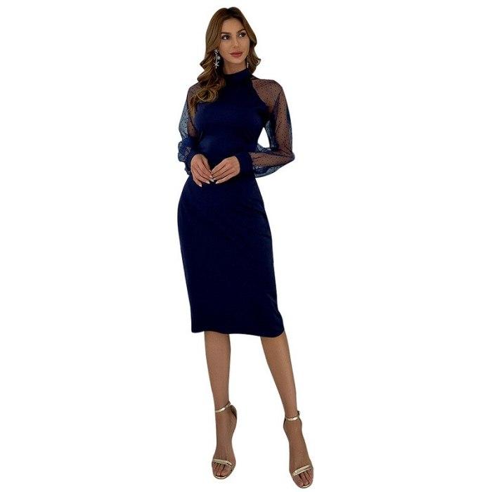 Slim Dress Women Summer Fashion Gauze Wave Point Dresses for Women Lantern Sleeve Solid Party Dresses Women Evening